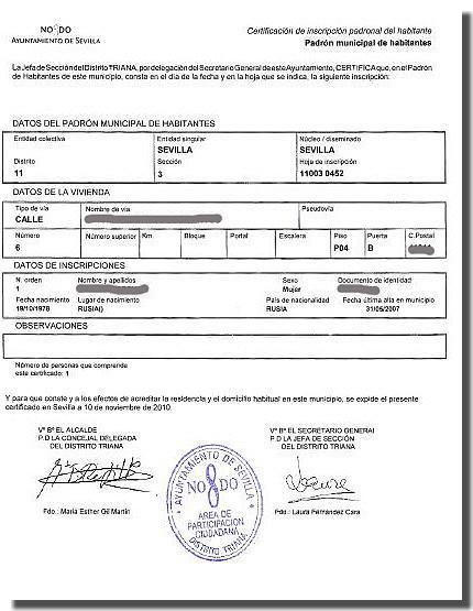 Dokument zameldowania w Hiszpanii Empadronamiento
